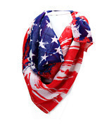 Women's Red, White & Blue American Flag Patriotic Spring Scarf  - $11.15 CAD