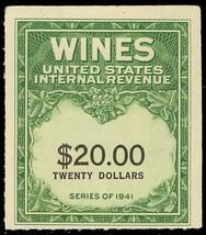 RE181, Unused $20 Wine Revenue Stamp Cat $25.00 - Stuart Katz - $17.50