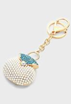 Gold & Blue Zircon Crystal Pearl Handbag Key Ch... - $12.50