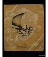 Vtg Graduate Greeting Card Parchment 1940s Used Ship Owl Cut Outs FR SHP - $6.87