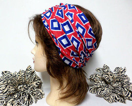 Red, Blue & White Head Wrap, Scarf, Yoga, Running, Workout, Multi-use He... - €7,28 EUR