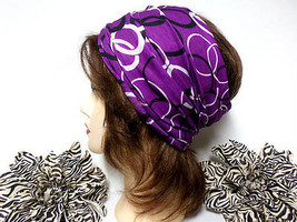 Purple & White Head Wrap, Scarf, Yoga, Running, Workout, Multi-use Headband - €7,28 EUR