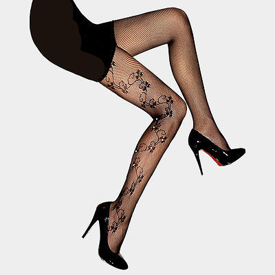 CCDC Black Floral Vine Design with Crystal Fishnet Pantyhose Tights USA