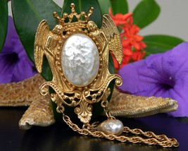 Vintage Angels Mirror Brooch Pin Baroque Pearl Dangle Sphinx Numbered - $39.95