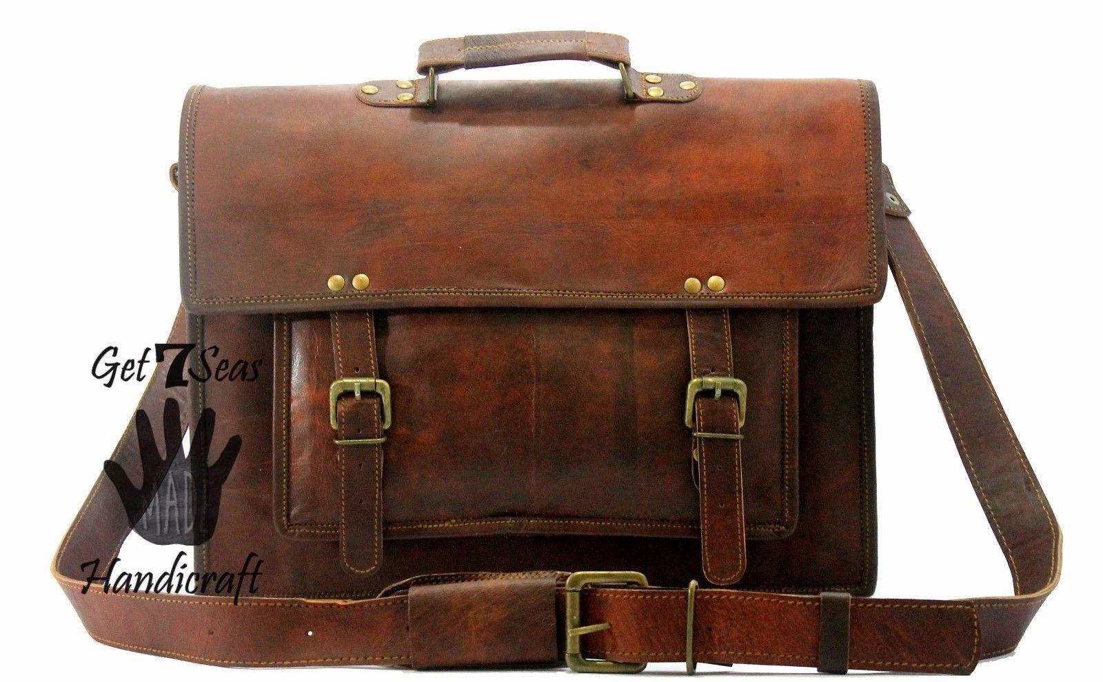 15 Men Vintage Brown Leather Handbag Messenger Bag Shoulder Laptop Bag Briefcase