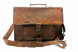Men's Vintage Brown Leather Handbag Messenger Bag Shoulder Laptop Bag Br... - $65.84