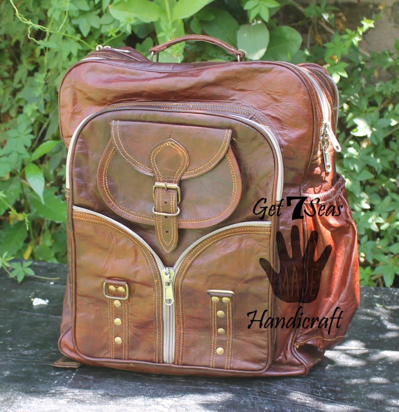 "Primary image for 16"" Men's Handmade Vintage Leather Rucksack Backpack Shoulder Bag Book Bag G7S"