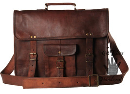 "G7S 16"" Mens Vintage leather messenger bag crossbody satchel shoulder briefcase image 5"