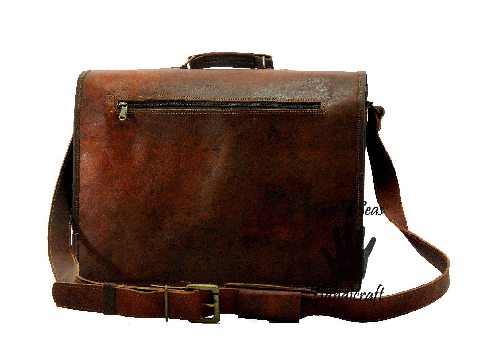 15 Men Vintage Brown Leather Handbag Messenger Bag Shoulder Laptop Bag Briefcase image 6