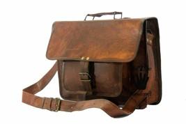 Men's Vintage Brown Leather Handbag Messenger Bag Shoulder Laptop Bag Briefcase image 2