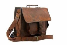 Men's Vintage Brown Leather Handbag Messenger Bag Shoulder Laptop Bag Briefcase image 3