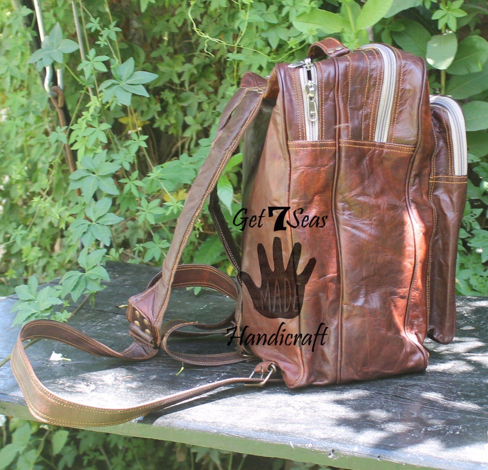 """16"""" Men's Handmade Vintage Leather Rucksack Backpack Shoulder Bag Book Bag G7S"""