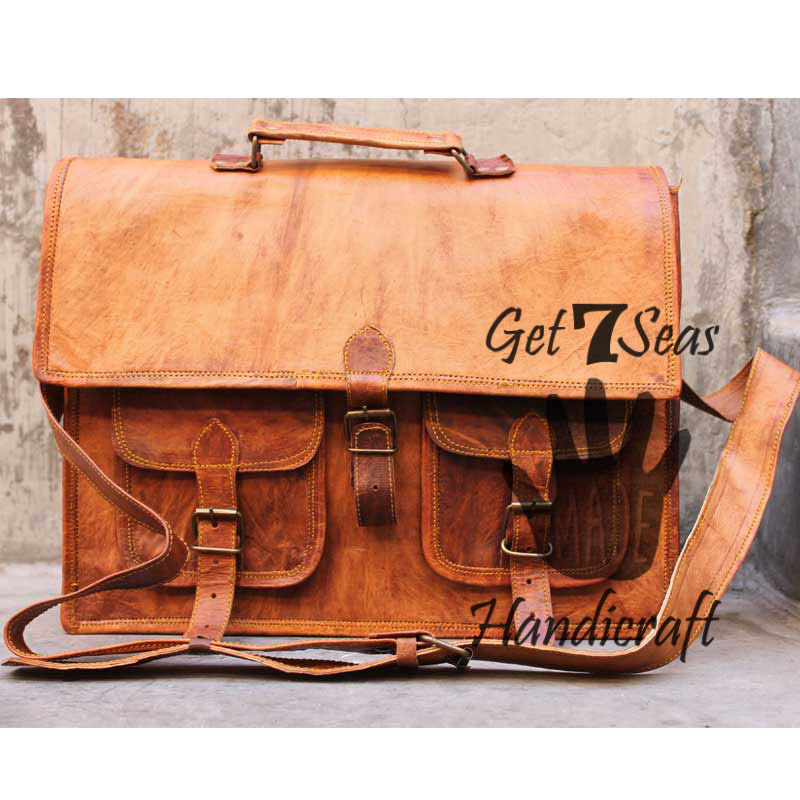 "G7S 16"" Mens leather messenger bag satchel crossbody laptop bag briefcase Tote"