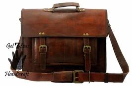 15 Men Vintage Brown Leather Handbag Messenger Bag Shoulder Laptop Bag Briefcase image 3