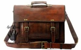 15 Men Vintage Brown Leather Handbag Messenger Bag Shoulder Laptop Bag Briefcase image 2