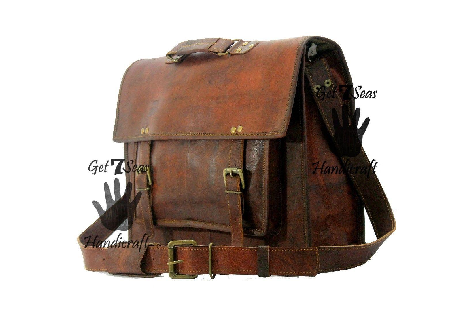 15 Men Vintage Brown Leather Handbag Messenger Bag Shoulder Laptop Bag Briefcase image 4