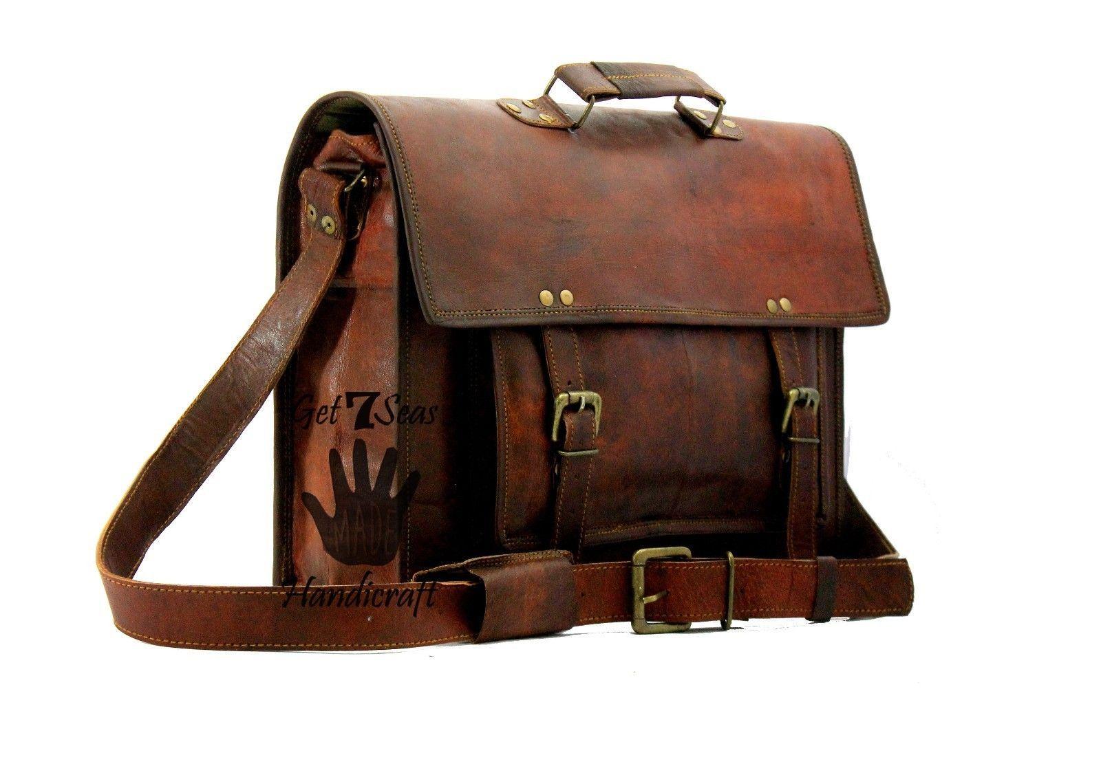 15 Men Vintage Brown Leather Handbag Messenger Bag Shoulder Laptop Bag Briefcase image 5