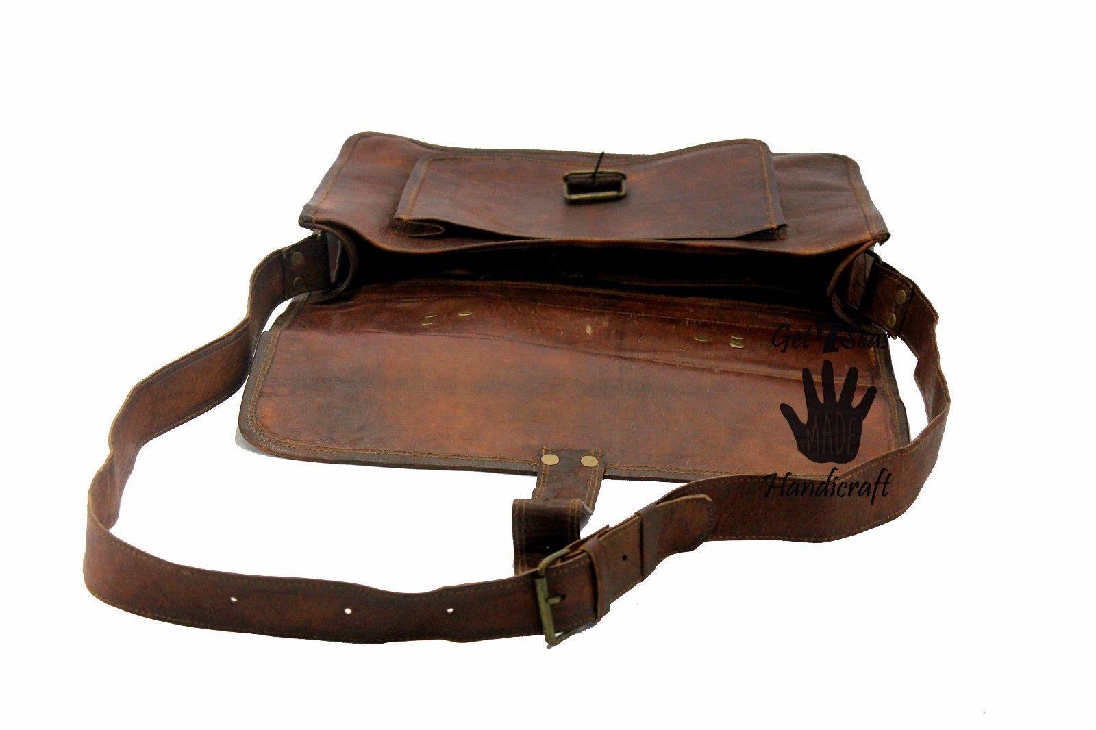 Men's Vintage Brown Leather Handbag Messenger Bag Shoulder Laptop Bag Briefcase image 5