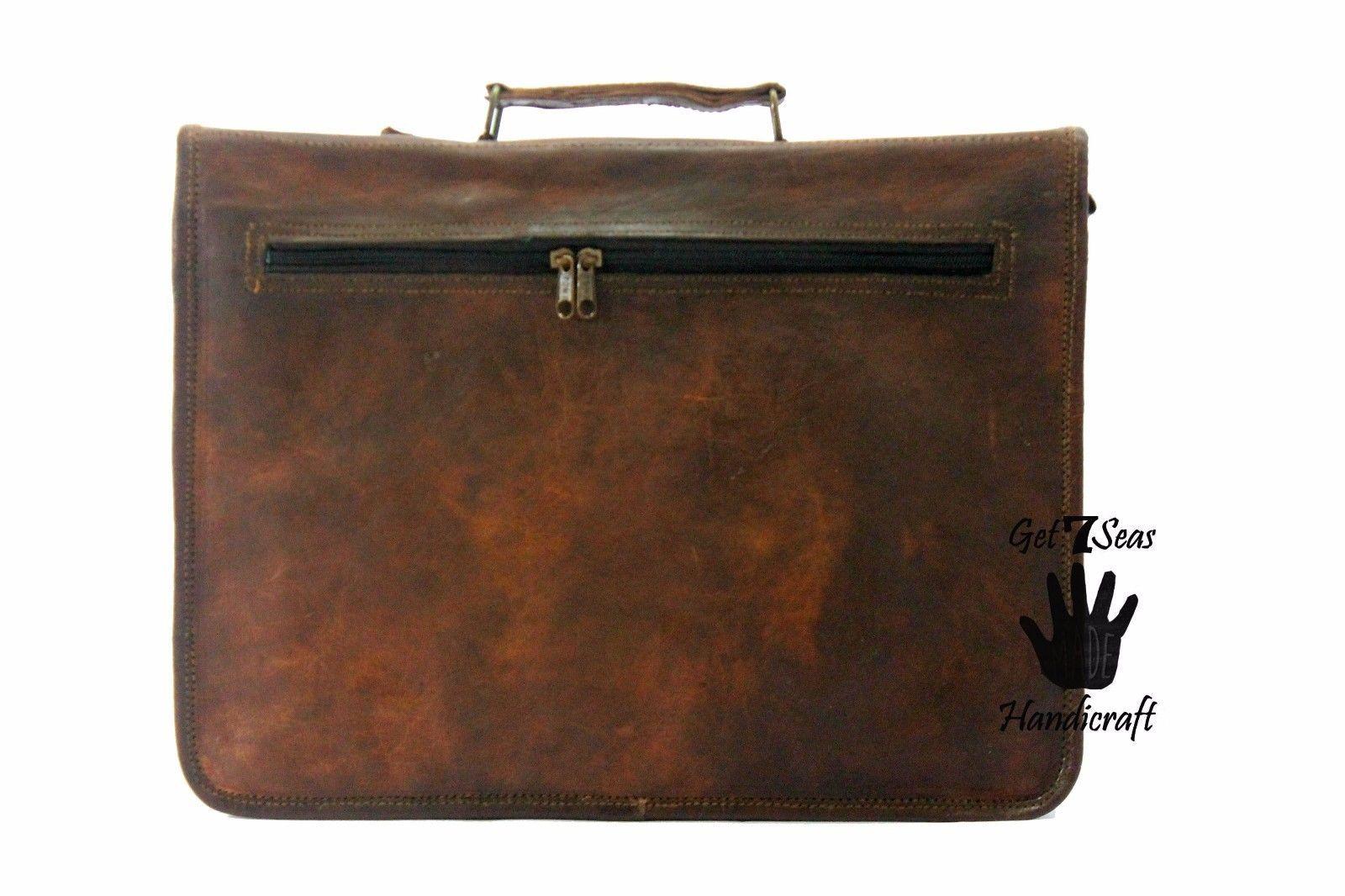 Men's Vintage Brown Leather Handbag Messenger Bag Shoulder Laptop Bag Briefcase image 7