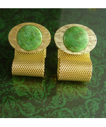 Jade Cufflinks with chain  Mesh wraps high quality green cuff links mens formal  - $145.00