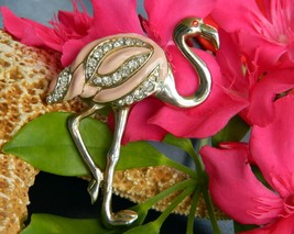 Flamingo Bird Tropical Brooch Pin Pink Enamel Rhinestones Figural - $15.95