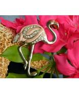 Flamingo Bird Tropical Brooch Pin Pink Enamel Rhinestones Figural - $15.95