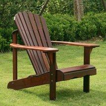 Wood Adirondack Chair Patio Garden Backyard Poolside Seating Armrest Curve Back - $279.00