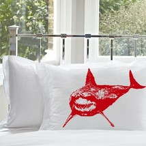 Two for 25 Red Shark White Nautical Pillowcase pillow cover ocean sea week - $24.98