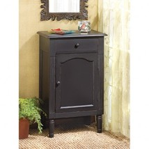 ANTIQUED BLACK WOOD CABINET - $139.95