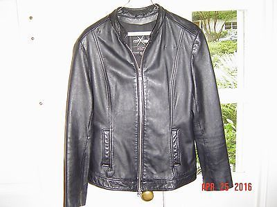 MAXIMA BY WILSON`S BLACK LEATHER JACKET LADIES` L LARGE HARLEY DAVIDSON 8