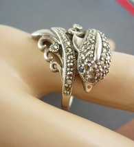 Sterling Dolphin Ring Vintage Marcasite & Silver Porpoise 7.4 grams Size... - $125.00