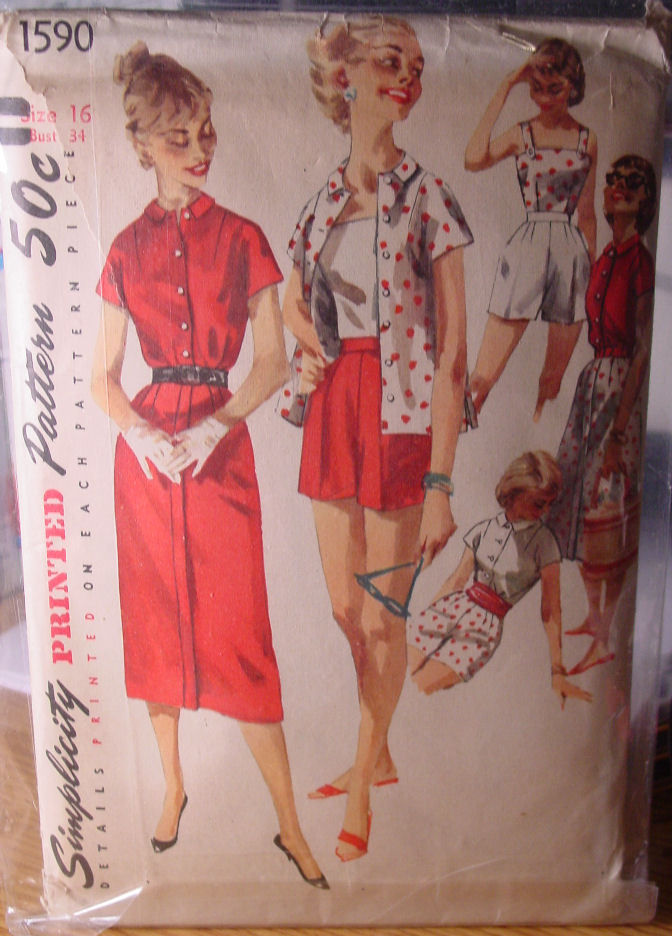 "Vintage Pattern 1590 (used) Women's Tops Skirt, Shorts 34"" bust Early1950s"