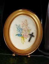 Religious Shrine Mourning glass Framed Rosary C... - $125.00