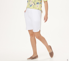 "Denim & Co. French Terry Pull-On Shorts - 8"" Inseam, White, L - $18.80"