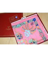 Must De Cartier Sciarpa Fenicottero con Pietre Rosa 87 CM Seta Foulard A... - $255.20