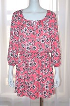 JUICY COUTURE Pink Floral Chiffon Day Summer Casual Beach Dress sz Small... - $55.89