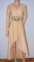 Vintage 70s Beige Gold Hi-Lo Evening Cocktail Party Dress Gown Medium M ... - $55.86