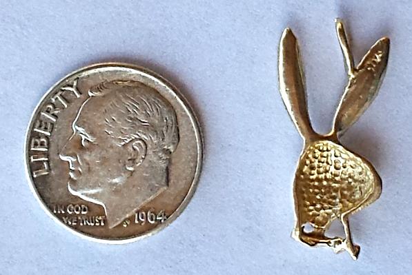 Playboy Bunny '3D' 14K Gold Retro Pendant / Charm Circa 1960's