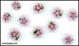 Elegant 10 Tiny Ceramic  Lavender  FLOWERS   5mm - $3.59