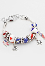 Red, White  & Blue American Flag I Love USA Multi Beaded Charm Bracelet ... - $18.75