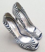 Gianni Bini 7.5 M Shoes Patent Leather Peep toe Black White Op Art Print... - $47.52