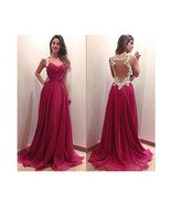 Long Dress Prom Gown  Evening Formal Party Sexy Lace Chiffon Backless Re... - $29.99