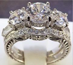 2.67 Ct Wedding Ring Set Bridal Diamond Simulated Womens + Sapphire Pendant Sz 9 - $37.39