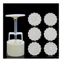Round Shape Moon Cake Pastry Mold Hand Pressure 75g One Barrel 6 Flower ... - €11,51 EUR
