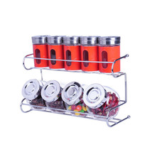 9 Canister Metal & Glass Spice Shakers Glass Jars 2 Tier Wire Rack Displ... - €31,88 EUR