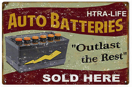 HTRA LIFE Auto Batteries Motor Oil Gas Station Sign - $25.74