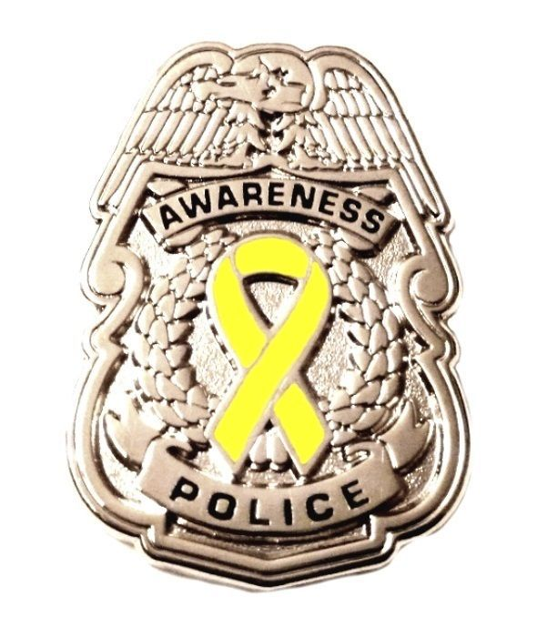 Primary image for Yellow Awareness Ribbon Pin Police Badge Security Sheriff Cancer Silver New