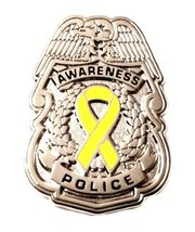 Yellow Awareness Ribbon Pin Police Badge Security Sheriff Cancer Silver New - $13.97