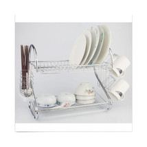 2 Tiers Kitchen Dish Cup Drying Rack Drainer Dryer Tray Cutlery Holder O... - €42,53 EUR