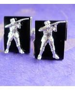 Unusual Hunting Gun Cufflinks * figural man *  NRA Rifle * Game warden *... - $85.00